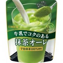 ชาเขียวลาเต้ ใช้มัทฉะอุจิ 100% แค่ผสมลงไปในนมเย็นๆ ก็อร่อยเลย หรือผสมกับนมถั่วเหลืองก็อร่อยได้  ยี่ห้อ nitto koucha